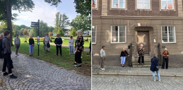 Bildmontage: en samling människor vid ett grönområde och framför en byggnad.