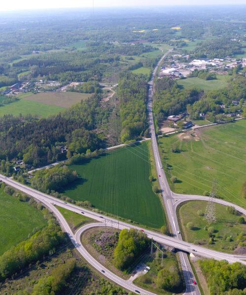 Flygbild över området Duveryd