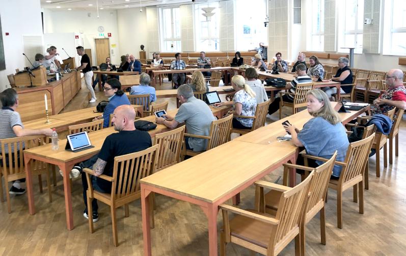 Ledamöter i Karlshamns kommunfullmäktige i Rådhuset 3 augusti 2020.