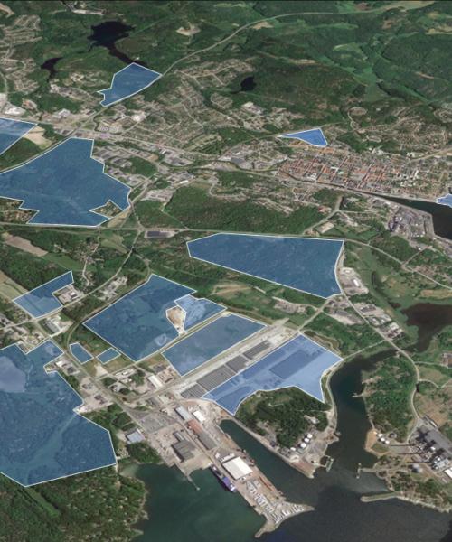 Kartbild från Google Earth över Karlshamns etableringsområden