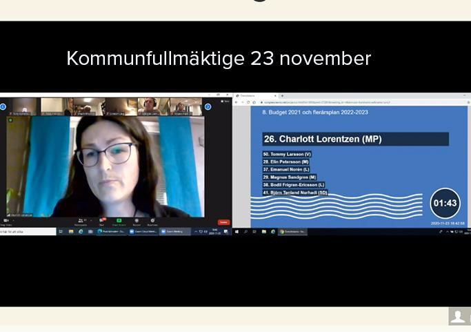 En print screen från Karlshamns kommuns webb-tv.