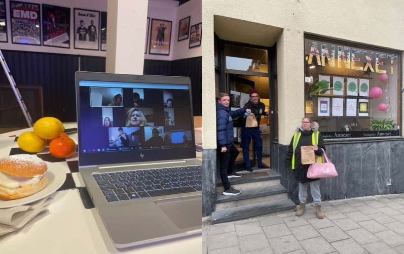 Montage: videosamtal med många deltagare och tre personer i entrén till Träffpunkt Annexet.