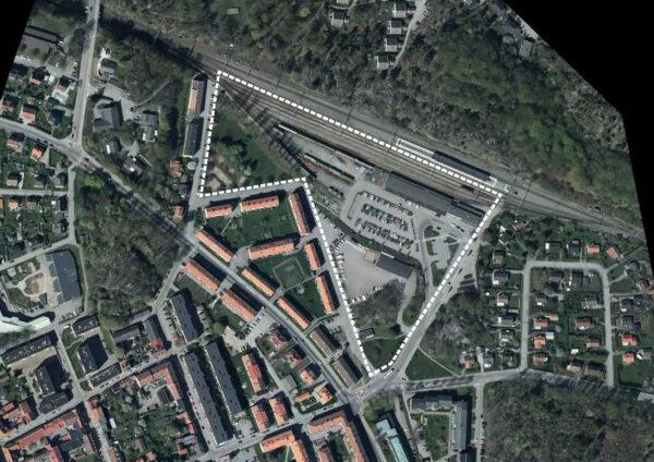 Markering av den nya stadsdelen på ett flygfoto av stationsområdet.
