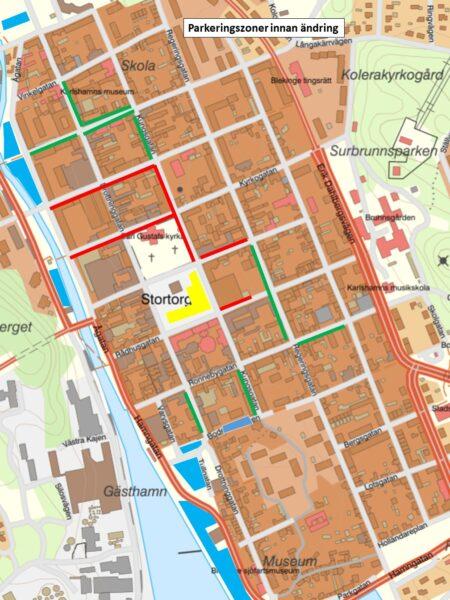 Karta med färgmarkeringar för parkeringszoner innan ändring.