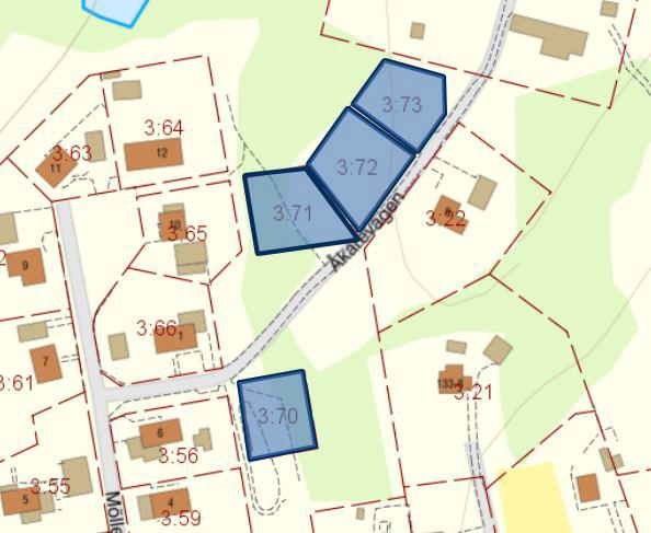 Fyra lediga tomter markerade på karta.
