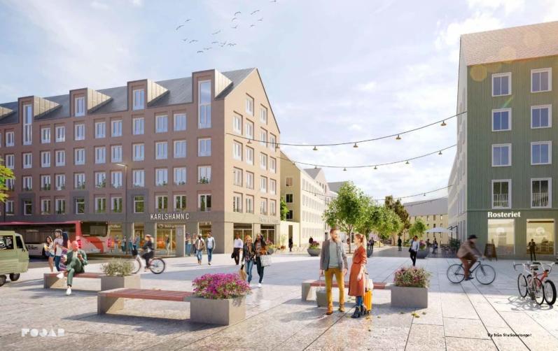 Illustration av den nya stadsdelen.