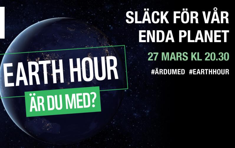 Foto på en skuggad jord med texten earth hour, är du med?