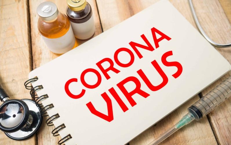 Anteckningsbok med texten Corona Virus