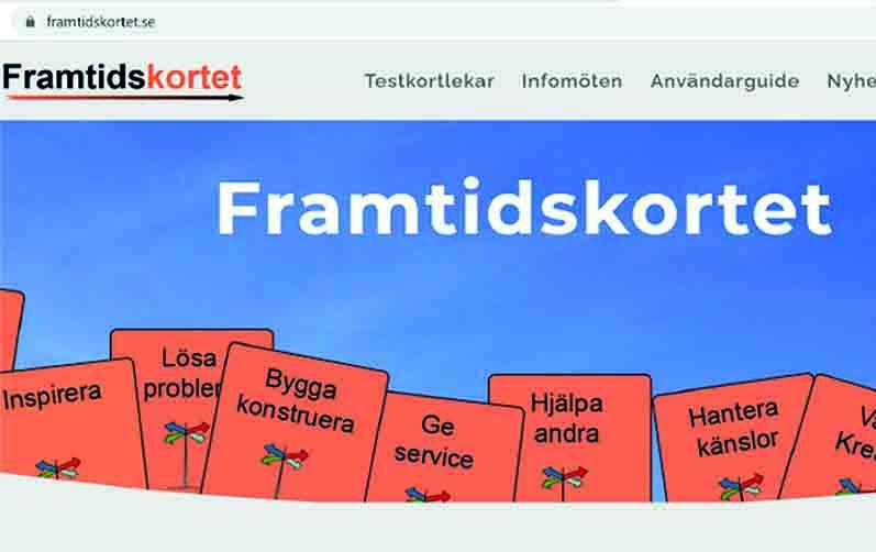 Foto på webbsidan för framtidskortet där man ser olika kort med text på
