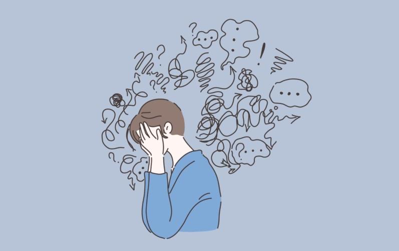 Illustration över orolig människa som döljer ansiktet i händerna.